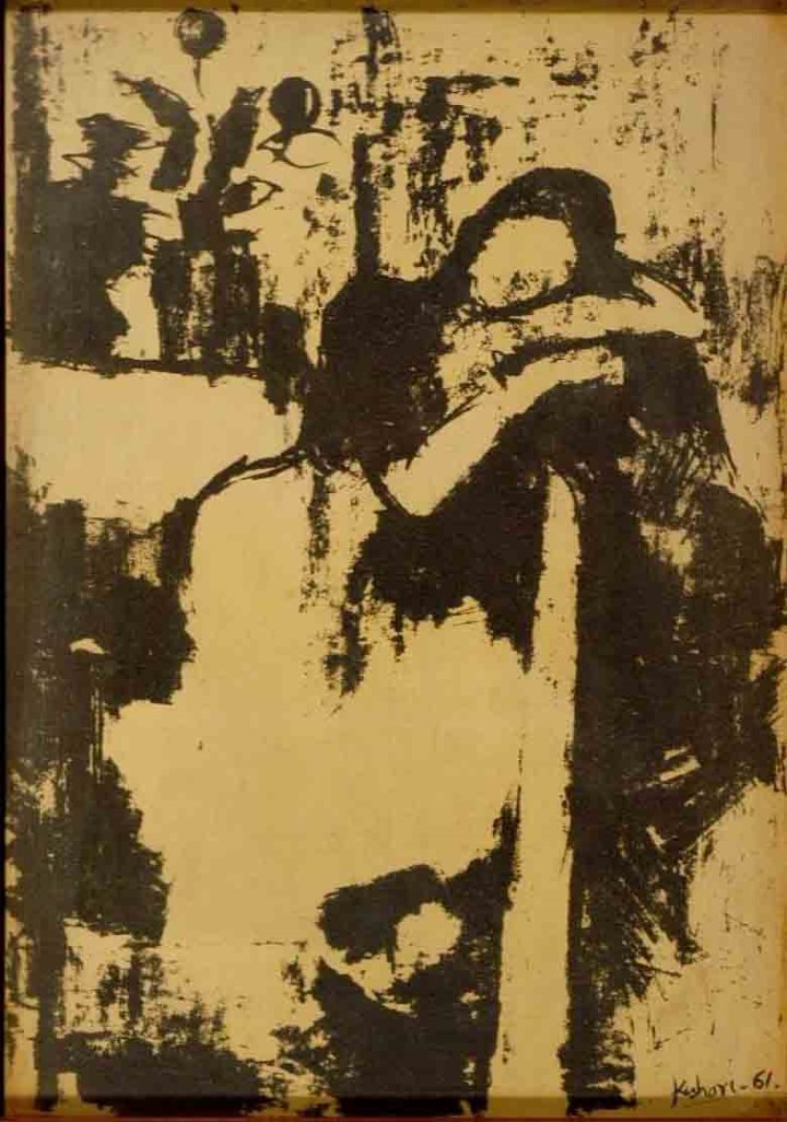 KISHORI KAUL COMPOSITION LITHOGRAPH ON PAPER (GRAPHIC) 35 X 50 CMS 1961