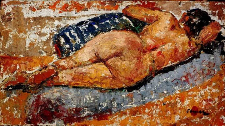 Y.K.SHUKLA NUDE OIL ON BOARD (PAINTING) 30 X 53.5 CMS
