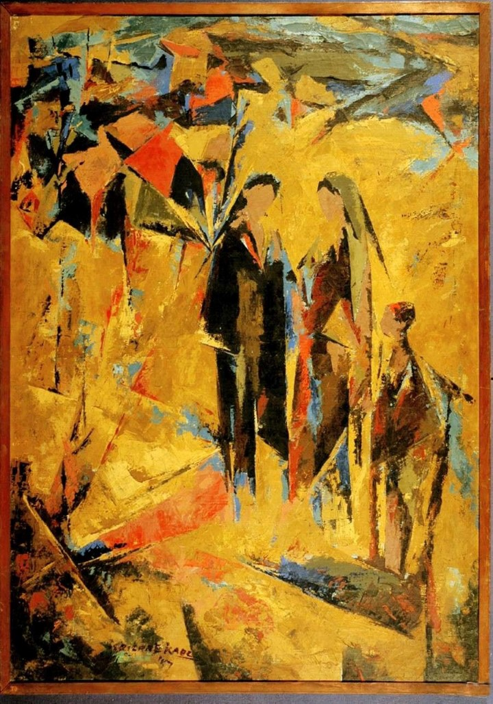 TRILOKE  KAUL IN THE FILED OIL ON CANVAS (PAINTING) 86 X 121 CMS 1957