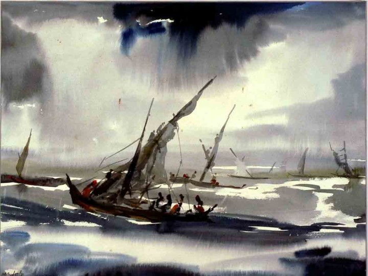 M.S.JOSHI GREY MORNING WATER COLOUR ON PAPER (PAINTING) 46 X 60 CMS