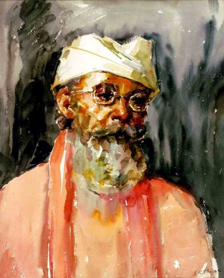 S.K. THOSAR PORTRAIT OFA SADHU WATER COLOUR ON PAPER (PAINTING) 56 X 46.5  CMS