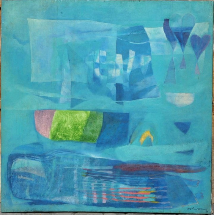 BLUE LANTERN by ACHUTAN KUDALLUR on OIL ON CANVAS (PAINTING)114 X 114 CMS1985
